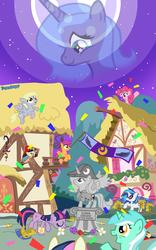 Size: 1000x1600 | Tagged: source needed, safe, artist:slitherpon, bon bon, derpy hooves, dj pon-3, lyra heartstrings, pinkie pie, princess celestia, princess luna, scootaloo, sweetie drops, twilight sparkle, vinyl scratch, pegasus, pony, celestia hate, female, flag, flower, hat, helmet, mare, moon, new lunar republic, night, ponyville, s1 luna, stars, statue, tyrant celestia