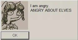Size: 617x315 | Tagged: safe, artist:nobody, oc, oc only, oc:marker pony, idw, angry about elves, dialogue box, parody, parody of a parody, sim city, solo