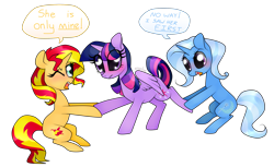 Size: 900x552 | Tagged: safe, artist:kaikururu, sunset shimmer, trixie, twilight sparkle, alicorn, pony, unicorn, blushing, counterparts, dialogue, female, fight, jealous, lesbian, love triangle, magical trio, one eye closed, shipping, shipping war, simple background, sunsetsparkle, suntwixie, transparent background, tug of war, twilight sparkle (alicorn), twilight's counterparts, twixie, waifu, waifu fight