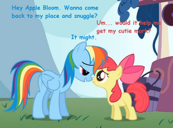 Size: 677x500 | Tagged: safe, edit, edited screencap, screencap, apple bloom, rainbow dash, earth pony, pegasus, pony, bedroom eyes, female, filly, implied snuggling, lesbian, mare, rainbloom, shipping, this will end in jail time