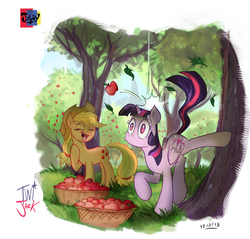 Size: 783x748 | Tagged: safe, artist:jowybean, applejack, twilight sparkle, alicorn, pony, apple, apple orchard, apple tree, applebucking, bonk, bucket, bucking, duo, eyes closed, female, laughing, mare, tree, twilight sparkle (alicorn)