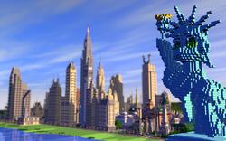 Size: 2560x1600 | Tagged: safe, brohoof.com, city, game screencap, manehattan, minecraft, render, skyscraper, statue, statue of friendship