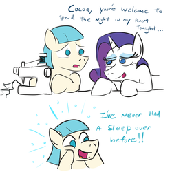 Size: 800x800 | Tagged: safe, artist:jargon scott, coco pommel, rarity, bedroom eyes, cocoa cantle, female, male, marshmallow coco, oblivious, rule 63, sewing machine, shipping, straight