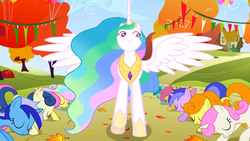 Size: 1366x768 | Tagged: safe, screencap, bon bon, carrot top, dizzy twister, golden harvest, linky, minuette, orange swirl, princess celestia, sea swirl, seafoam, shoeshine, spring melody, sprinkle medley, sweetie drops, twinkleshine, alicorn, earth pony, pegasus, pony, unicorn, fall weather friends, beautiful, bowing, c:, ethereal mane, eyes closed, female, flowing mane, front facing, hoof shoes, lidded eyes, looking to side, low angle, mare, multicolored mane, raised hoof, smiling, spread wings, worship