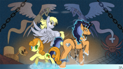 Size: 1024x576 | Tagged: safe, artist:dsana, carrot top, derpy hooves, golden harvest, princess celestia, princess luna, oc, oc:windigo queen, pegasus, pony, spider, derpy's and carrot top's journey, chains, crown, female, ice, ice queen, mare, mural, skeleton