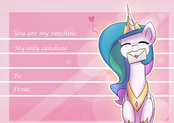 Size: 2400x1700 | Tagged: safe, artist:anticular, princess celestia, alicorn, pony, ask sunshine and moonbeams, :3, blushing, cute, cutelestia, eyes closed, female, heart, johnny cash, mare, mouth hold, pine ridge boys, solo, song reference, valentine, valentine's day, you are my sunshine