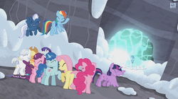Size: 1274x712 | Tagged: safe, applejack, double diamond, fluttershy, night glider, party favor, pinkie pie, rainbow dash, rarity, starlight glimmer, sugar belle, twilight sparkle, alicorn, earth pony, pegasus, pony, unicorn, the cutie map, eyes closed, female, mane six, mare, skis, snow, twilight sparkle (alicorn)