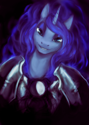 Size: 1330x1880 | Tagged: safe, artist:elkaart, princess luna, alicorn, armor, bust, female, looking at you, portrait, smiling, solo