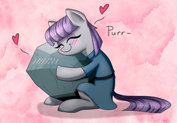 Size: 1502x1047 | Tagged: artist:sigmanas, behaving like a cat, blushing, cargo ship, clothes, cute, earth pony, eyes closed, female, heart, hearts and hooves day, hug, love, mare, maudabetes, maud pie, pony, purring, rock, rockcon, safe, shipping, sitting, smiling, that pony sure does love rocks, tom, tomaud, valentine's day, when she smiles, щщоки