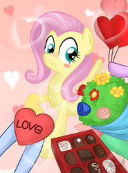 Size: 600x810 | Tagged: safe, artist:obcor, fluttershy, pegasus, pony, bouquet, chocolate, female, fluttershy gets all the mares, fluttershy gets all the stallions, hearts and hooves day, mare, offscreen character, solo