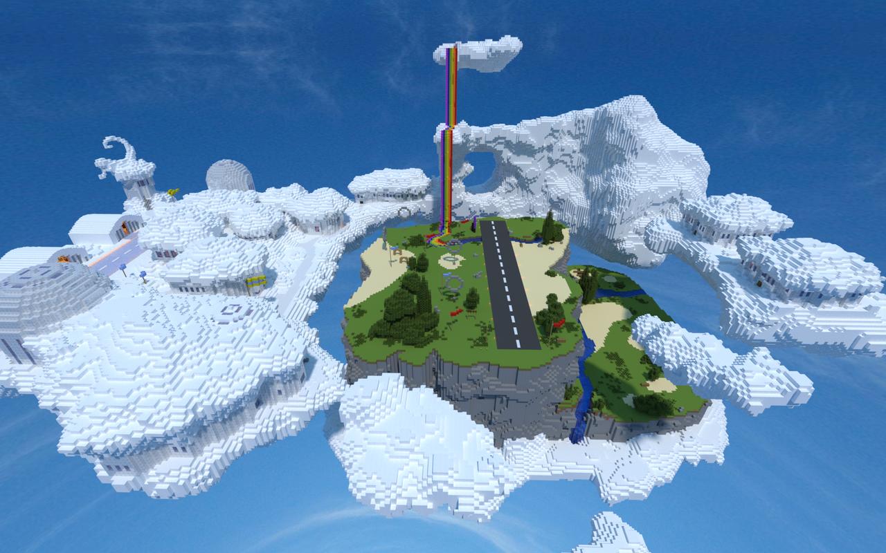 Minecraft Rainbow Sky Waterfall Garden Fountain Temple House Design 34