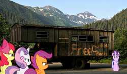 Size: 1024x601 | Tagged: safe, artist:jeatz-axl, apple bloom, scootaloo, starlight glimmer, sweetie belle, the cutie map, cutie mark crusaders, irl, photo, ponies in real life, seems legit, this will end in tears, this will end in tears and/or death and/or covered in tree sap, tree sap and pine needles, truck