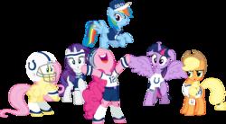 Size: 7248x4000 | Tagged: safe, artist:jeatz-axl, applejack, fluttershy, pinkie pie, rainbow dash, rarity, twilight sparkle, alicorn, pony, absurd resolution, american football, andrew luck, baseball cap, bipedal, clothes, female, hat, helmet, indianapolis colts, mane six, mare, nfl, shirt, simple background, super bowl, super bowl xlix, transparent background, twilight sparkle (alicorn), vector