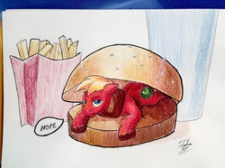 Size: 1280x951 | Tagged: safe, artist:tsitra360, big macintosh, earth pony, pony, big mac (burger), burger, food, french fries, hamburger, horse meat, male, mcdonald's, meat, namesake, nope, pun, solo, stallion, traditional art, visual pun