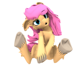Size: 982x832 | Tagged: safe, artist:sherfur, oc, oc only, oc:bloom flower, earth pony, pony, 3d, :o, bed hair, cute, female, floppy ears, fluffy, head tilt, mare, messy mane, simple background, sitting, sleepy, solo, transparent background, underhoof, unshorn fetlocks