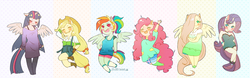 Size: 1500x468 | Tagged: ambiguous facial structure, anthro, applejack, artist:milkrainn, chibi, dead source, fluttershy, hair over one eye, mane six, pinkie pie, rainbow dash, rarity, safe, simple background, twilight sparkle, twilight sparkle (alicorn)