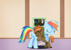 Size: 933x660   Tagged: artist needed, source needed, safe, button mash, rainbow dash, buttondash, female, gamer, hug, male, portal 2, shipping, straight, video game