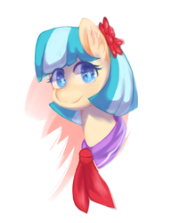 Size: 1000x1300 | Tagged: safe, artist:luciferamon, coco pommel, earth pony, pony, female, flower, flower in hair, looking at you, mare, portrait, simple background, smiling, solo, white background