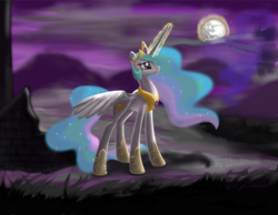 Size: 1275x991 | Tagged: artist:marcylin1023, crying, mare in the moon, moon, night, princess celestia, safe, solo, spread wings
