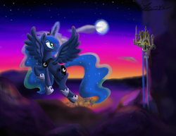 Size: 1389x1075 | Tagged: artist:marcylin1023, canterlot, flying, magic, moon, moonrise, ponyville, princess luna, safe, solo