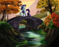 Size: 1341x1075 | Tagged: artist:marcylin1023, autumn, bridge, forest, raised hoof, rarity, river, safe, scenery, solo, stream