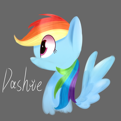 Size: 2000x2000 | Tagged: artist:yaaaco, bust, female, gray background, lineless, mare, pegasus, pony, portrait, profile, rainbow dash, safe, simple background, solo, spread wings, wings