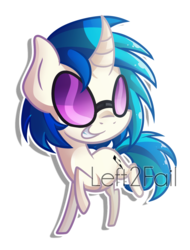 Size: 1350x1774 | Tagged: artist:drawntildawn, chibi, curved horn, dj pon-3, glasses, grin, pony, safe, simple background, smiling, solo, transparent background, unicorn, vinyl scratch, watermark