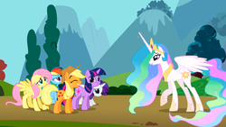 Size: 1366x768 | Tagged: safe, screencap, applejack, fluttershy, princess celestia, rainbow dash, rarity, twilight sparkle, alicorn, earth pony, pegasus, pony, unicorn, swarm of the century, crown, ethereal mane, faic, female, great moments in animation, hoof shoes, jewelry, mare, meme origin, peytral, regalia, twiface, unicorn twilight, varying degrees of want, wrong neighborhood