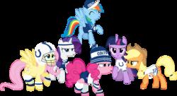 Size: 7348x4000 | Tagged: safe, artist:jeatz-axl, applejack, fluttershy, pinkie pie, rainbow dash, rarity, twilight sparkle, alicorn, pony, absurd resolution, american football, andrew luck, baseball cap, clothes, female, hat, headband, helmet, indianapolis colts, mane six, mare, nfl, open mouth, raised hoof, shirt, simple background, super bowl, super bowl xlix, sweatband, transparent background, twilight sparkle (alicorn), vector