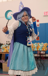 Size: 3766x5887 | Tagged: safe, trixie, human, alicorn amulet, cape, clothes, cosplay, great and powerful, hat, irl, irl human, magical girl, photo, ponycon, ponycon 2015, ponycon nyc, prop, skirt, trixie's cape, trixie's hat, vest, waistcoat