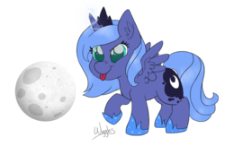 Size: 1280x836   Tagged: safe, artist:wiggles, princess luna, cute, filly, lunabetes, moon, simple background, solo, tongue out, woona