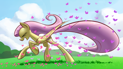 Size: 1920x1080 | Tagged: safe, artist:underpable, fluttershy, butterfly, pegasus, pony, cloud, cute, eyes closed, female, grass, mare, open mouth, running, shyabetes, sky, smiling, solo, underpable is trying to murder us, wallpaper