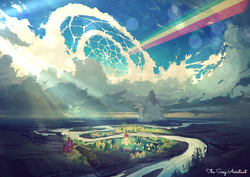 Size: 900x636 | Tagged: safe, artist:rhads, artist:the sexy assistant, edit, canterlot, cloud, cloudsdale, cloudy, lens flare, no pony, ponyville, rainbow, rainbow trail, river, scenery, sky, sweet apple acres