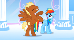 Size: 1099x597 | Tagged: safe, screencap, meadow song, rainbow dash, pegasus, pony, sonic rainboom (episode), duo, eyes closed, invisible stallion, leeroy wingkins, rearing