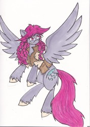 Size: 1280x1794 | Tagged: safe, artist:zubias, oc, oc only, oc:evening breeze, pegasus, pony, fallout equestria, fallout equestria: trailblazers, braid, clothes, solo, traditional art