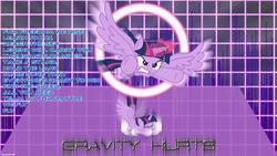 Size: 1920x1080 | Tagged: safe, artist:ahsokafan100, artist:kishmond, artist:masem, twilight sparkle, alicorn, pony, charge, crash, crashlight, cryoshell (band), female, flying, gravity hurts (song), looking at you, lyrics, magic, mare, solo, song reference, text, twilight sparkle (alicorn), vector, wallpaper