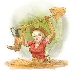 Size: 1280x1280 | Tagged: applejack, artist:king-kakapo, boots, clothes, dirty, human, humanized, mud, quicksand, safe, shovel, sinking, solo, wet and messy