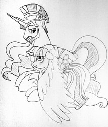 Size: 863x1008 | Tagged: safe, artist:unoriginai, princess celestia, twilight sparkle, cute, half r63 shipping, prince solaris, rule 63, shipping, solartwi, traditional art, twilaris, twilestia, twilight sparkle (alicorn)