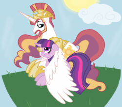 Size: 905x799 | Tagged: safe, artist:unoriginai, princess celestia, twilight sparkle, alicorn, pony, beard, cute, facial hair, female, half r63 shipping, helmet, male, prince solaris, rule 63, shipping, solartwi, straight, twilaris, twilestia