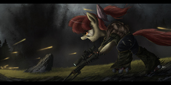 Size: 2500x1246 | Tagged: safe, artist:ncmares, apple bloom, cyborg, earth pony, pony, fanfic:night mares, angry, augmented, battle cry, bipedal, female, filly, gun, hooves, open mouth, optical sight, rifle, rock, running, scope, shooting, sniper, sniper rifle, solo, teeth, war, weapon
