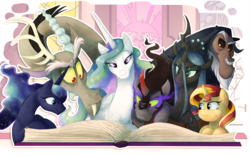 Size: 1197x746 | Tagged: safe, artist:c-puff, artist:mickeymonster, discord, king sombra, lord tirek, princess cadance, princess celestia, princess luna, queen chrysalis, shining armor, sunset shimmer, pony, antagonist, book, reading, stained glass, storybook, villains of equestria