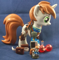 Size: 2961x3009   Tagged: safe, artist:gryphyn-bloodheart, oc, oc only, oc:littlepip, pony, unicorn, fallout equestria, brushable, clothes, custom, cutie mark, fanfic, fanfic art, female, funko, gun, handgun, healing potion, health potion, hooves, horn, irl, little macintosh, mare, optical sight, photo, pipbuck, potion, revolver, rifle, saddle bag, scope, solo, toy, vault suit, weapon, zebra rifle