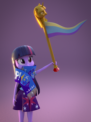 Size: 1447x1920 | Tagged: safe, artist:3d thread, artist:creatorofpony, twilight sparkle, equestria girls, /mlp/, 3d, 3d model, 4chan cup, 4chan cup scarf, blender, clothes, female, flag, scarf, shirt, skirt, solo, twilight scepter, twilight sparkle (alicorn)