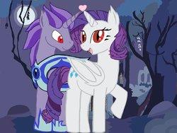 Size: 1024x772   Tagged: safe, rarity, oc, oc:kydose, alicorn, bat pony, pony, armor, bite mark, canon x oc, fangs, heart, love, raridose, shipping
