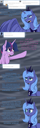 Size: 1024x3276 | Tagged: safe, artist:tlatophat, princess luna, twilight sparkle, alicorn, pony, unicorn, alternate hairstyle, alternate universe, ask, comic, sketchbook twilight, tumblr