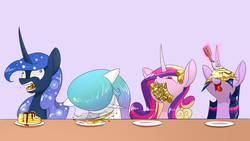 Size: 1920x1080 | Tagged: safe, artist:underpable, princess cadance, princess celestia, princess luna, twilight sparkle, alicorn, pony, alicorn tetrarchy, crepe, cute, derp, doubly hilarious in hindsight, eating, eyes on the prize, female, food, gentlemen, hilarious in hindsight, horn impalement, i'm pancake, levitation, magic, majestic as fuck, mare, messy eating, morning ponies, nom, nose wrinkle, op is psychic, open mouth, pancakes, prize on the eyes, silly, silly pony, smiling, stuffing, syrup, telekinesis, tongue out, twilight sparkle (alicorn), wallpaper, wide eyes