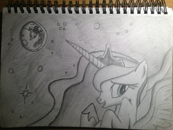 Size: 3264x2448 | Tagged: artist:lethal-doorknob, monochrome, moon, princess luna, safe, solo, traditional art