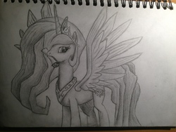 Size: 3264x2448 | Tagged: artist:lethal-doorknob, mouth hold, princess celestia, safe, scroll, solo, traditional art
