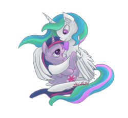 Size: 900x832 | Tagged: artist:glacialfalls, eye contact, hug, missing accessory, open mouth, princess celestia, safe, simple background, smiling, transparent background, twilight sparkle, winghug