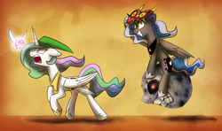 Size: 1754x1036 | Tagged: angry, artist:anticularpony, ask sunshine and moonbeams, crossover, fairy, grin, link, majora's mask, moon, navi, open mouth, princess celestia, princess luna, running, safe, sword, termina's moon, the legend of zelda, twilight sparkle
